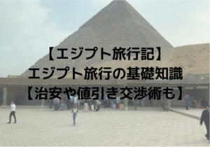 【エジプト旅行記】エジプト旅行の基礎知識【治安や値引き交渉術も】