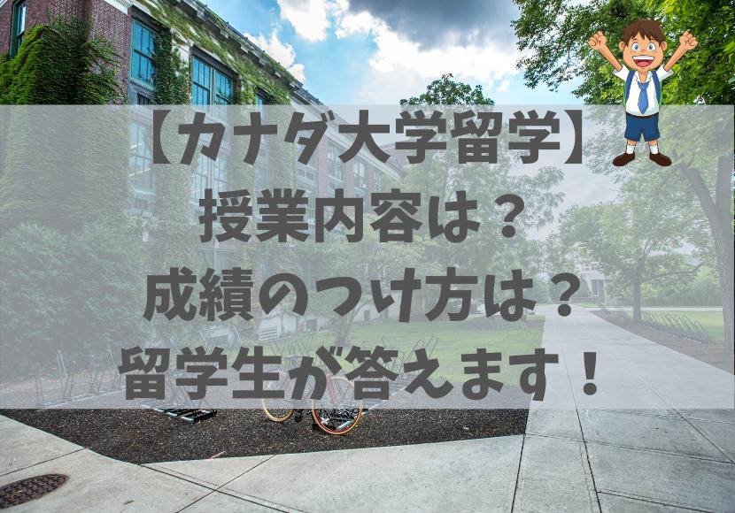【カナダ大学留学】授業内容は?成績のつけ方は?留学生が答えます!